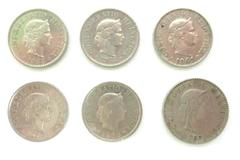 Five 10 Rappen And One 20 Rappen Coins From Switzerland 1960-1983