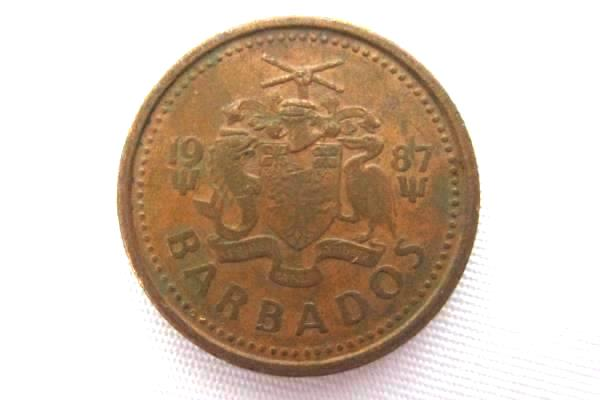 Two Barbados One Cent Coins  1987, 1999