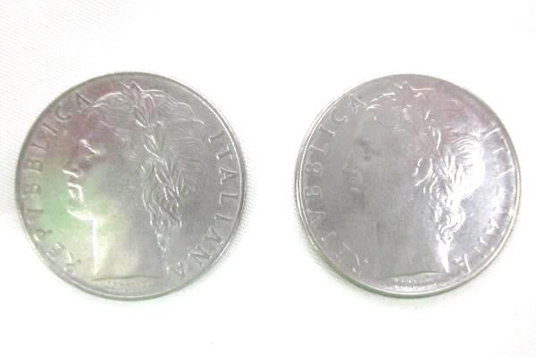 Two 100 Lire Coins From Italy Dated 1957 and 1973