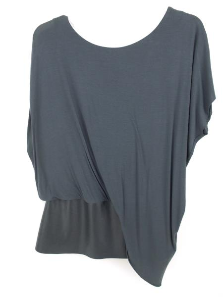 Anthropologie BAILEY 44 Gray Connectivity Leather Detail Top Draped Blouse SMALL