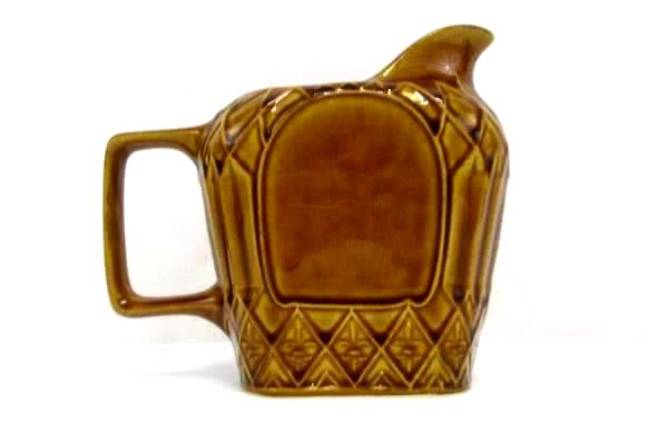 Golden Honey Ceramic Pitcher Creamer Fleur De Lis Pattern Rectangle Handle