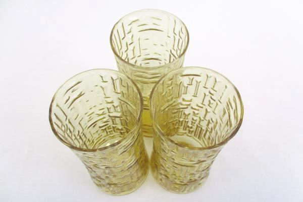 Set of 3 Amber Glass Tumblers Textured Design Iridescent 6.5In Tall