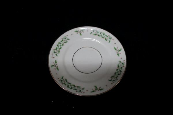 8 Eggshell Gibson USA Holiday Charm Saucers And One Cereal Bowl With Black Print