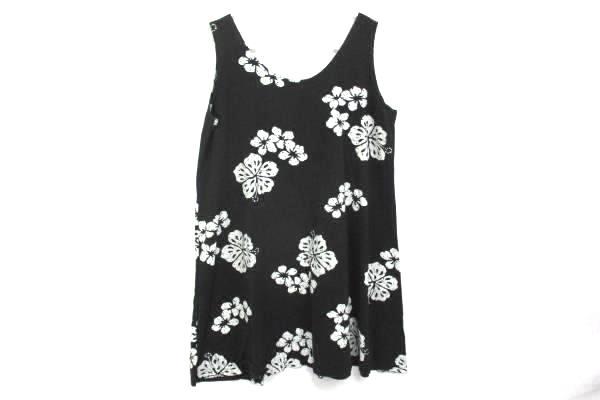 J&J Fashion Hawaii Dress Hibiscus Floral Sleeveless A Line Tropical Womens Large