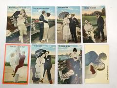 Vtg 1900s Lot of 8 Lovers Postcards Early Funny Quaint Unused Photos Quirky