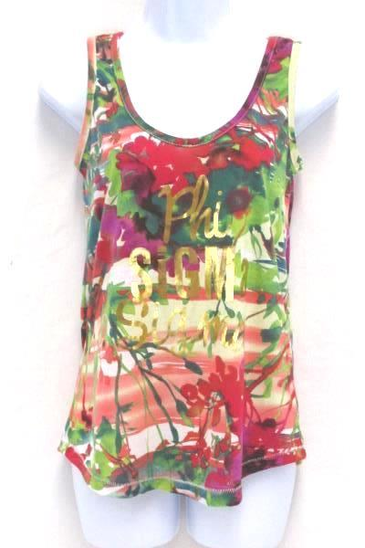 Sorority Tank Top Phi Sigma Sigma Gold Writing Floral Shirt Women's XS