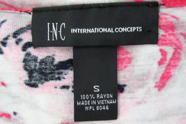 INC International Concepts Pink Rayon Short Sleeve Top Pleated Detail Women's Sm