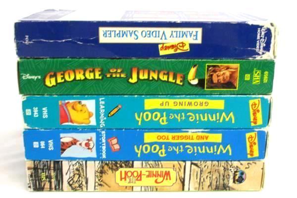 Lot of 13 Children Family VHS Tapes Jumanji Pooh Land Panda George Jungle