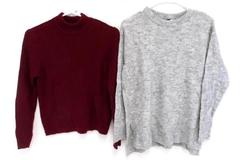 2 Pullover Sweaters Divided H&M Maroon Gray Long Sleeve Women's Small