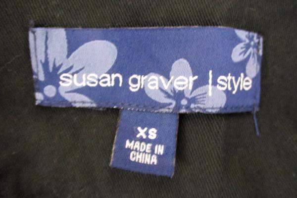 Women's Black Floral Embroidered Jean Jacket Blazer Susan Graver Style Size XS