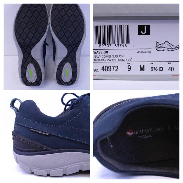 CLARKS Wave Go Combi Athletic Shoe Nubuck Waterproof Navy Wave Walk W 9M NIB