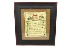 Vintage Framed Handmade Alphabet House Cross Stitch Sampler