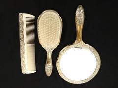 Vtg TOWLE Japan 3pc Dresser Set - Brush, Comb & Mirror Floral Design Silverplate