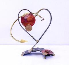 Gary Rosenthal Heart Sculpture Handcrafted Metal Judacia (without Dreidel)