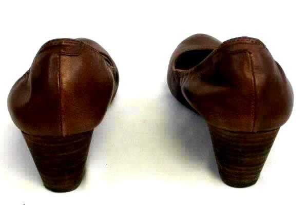 ADAM TUCKER Ritz Women's Brown Leather Low Wedges Sz 8M w/ Original Box