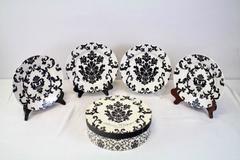 "Box Set of 4 Rosanna 8"" Plates Parisian Wallpaper Black & White Salad Dessert"