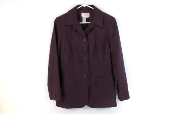 Vintage JG Hook Women's Lined Blazer Jacket Purple 100% Wool 2 Pocket Size 6