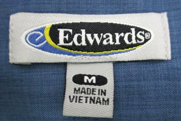 Edwards Garment Women's Ladies Batiste Riviera Blue Casino Shirt Size M 5395-406