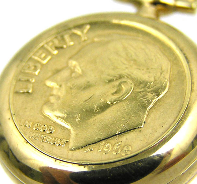 BERNEY Swiss PENDANT WATCH Gold Overlay US DIME