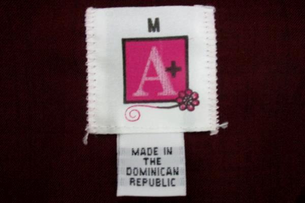 A+ by SAI Wine Colored Tunic Hospitality Shirt Long Sleeve 8210 Womens M