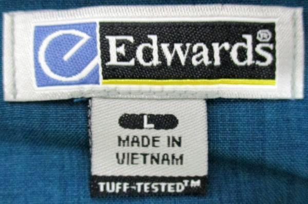Edwards Garment Long Sleeve Dark Green Stand Up Collar Shirt Mens L 1398