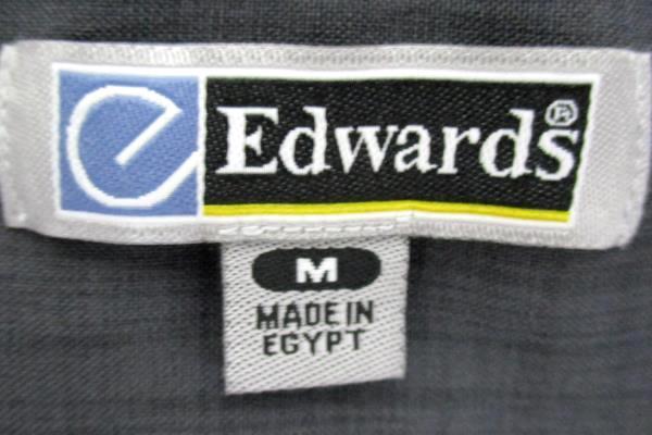 Edwards Garment Mens Batiste Steel Grey Casino Shirt Size M 1292-079