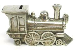 Vintage Metal Train Locomotive Engine Piggy Bank