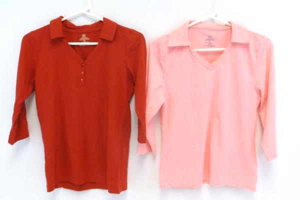Lot 2 Gabrielle Rohde-Royce Tops Pink Red 3/4 Sleeve Stretch V Neck Women's XS