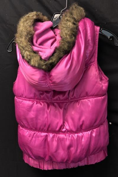 Puffy Fleece Lined Zip Up Vest By Old Navy Pink Girls Size 14 XL