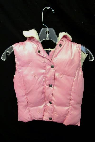 Girls Pink Puffy Sleeveless Hooded Vest By Guess Jeans Sz Small 7 100% Polyester