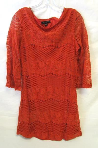 Women's Orange Long Sleeve Floral Knitted Dress By Sharagano Size 10