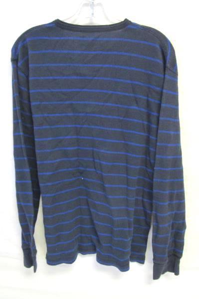 Men's Dark Light Blue Striped Long Sleeve Shirt By Old Navy Size L 57% Cotton