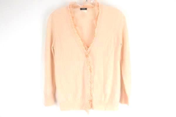 J CREW Women's Light Pink Merino Wool Button Down Ruffle Cardigan Sweater Size S