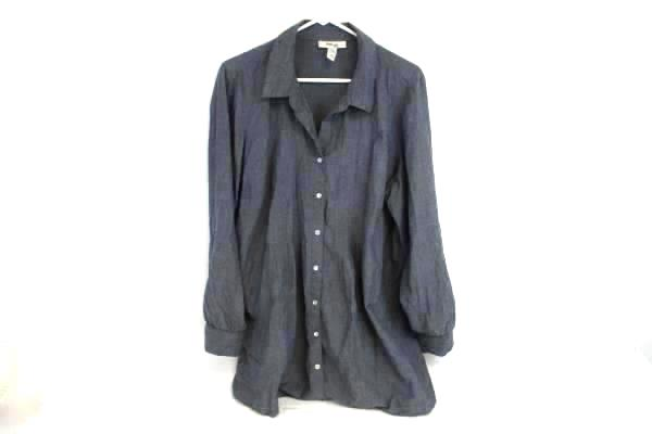 Style & Co Women's Shirt 16W Cotton Blue Pearl Snap Button Up Ruched Roll Tab