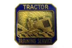 Vintage Blue Enamel Tractor Training Service Screw Back Pin Gold-Toned