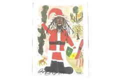 1994 Signed Roscoe Croskey Santa In Dreadlocks Print