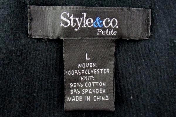 Style & Co Petite Sleeveless Black Knit Elastic Floral Full Skirt Dress Womens L