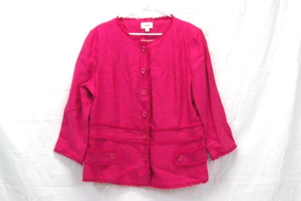 Neiman Marcus Exclusive Pink Fuchsia Jacket Blazer 100% Linen  Women's Size 16