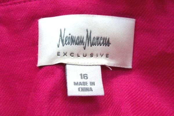 NEIMAN MARCUS Exclusive Pink Fuchsia 100% Linen Button Up Jacket Top Blazer 16