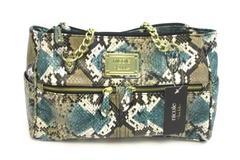 NWT Nicole Miller purse Emerald Faux Snakeskin Large Shoulder Bag