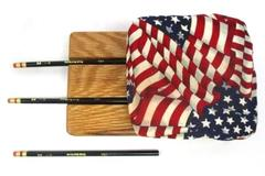 Patriotic Oak Pen Or Pencil Holder with 3 Pencils