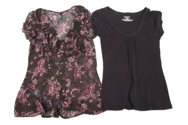 Lot of 2 Maurices Sheer Ruffle Button Front Top Zena Sport Scoop Neck Womens Med
