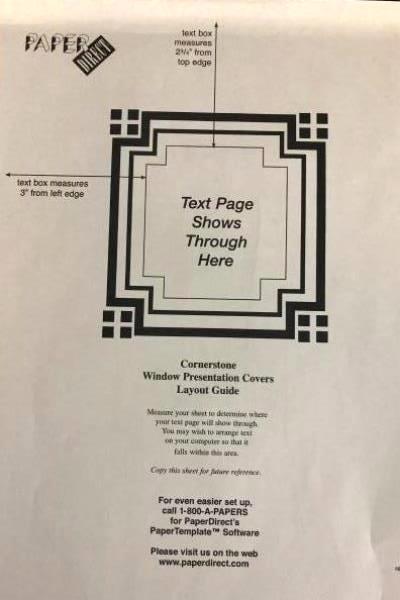 Lot 2 Creative Window Presentation Cover / Back Cornerstone Cream Foil 48 Ct NWT