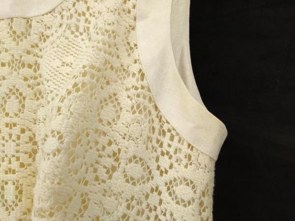 OLEG CASSINI Ivory Crochet Lace Sleeveless Sheath Dress Sz 0