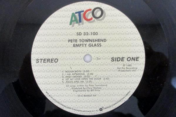 "Pete Townshend - Empty Glass 1980 12"" Vinyl 33 RPM LP ATCO Records SD 32-100"