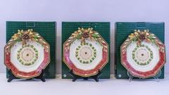 Set of 3 Fitz & Floyd Small Tray Plate Wall Decor Equestrian Collection w/Boxes