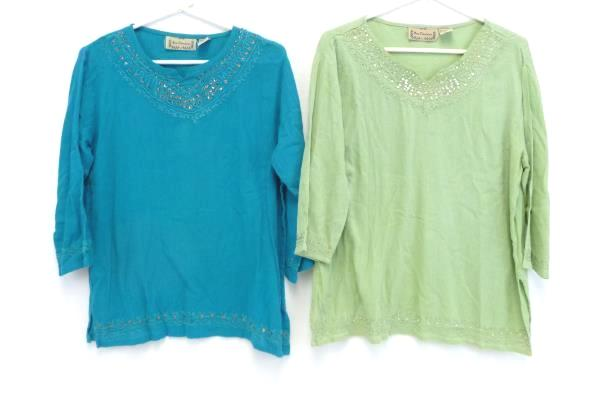 New Direction Blue Green Embroidered Sequins Blouse Top Women's Small