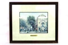 Thomas Kinkade Paris St Michel Framed Paper Print Matted COA Plein Air 117/1200