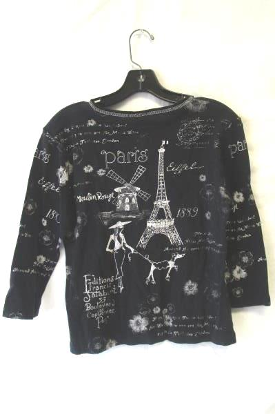 'Paris' Shirt by Christopher & Banks Black White Women's Size M