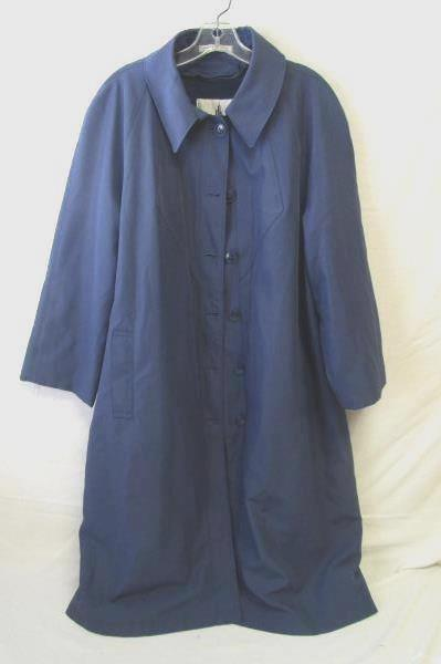 Blue Button Up Trench Over Coat By Misty Harbor 100% Polyester,100% Nylon